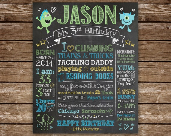 3rd Birthday Chalkboard Third Sign For Boy Printable