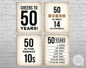 50th Birthday PRINTABLE Sign Pack, 50th Birthday DIGITAL Posters, Cheers to 50 Years Sign, 50th Birthday Decorations, Instant Download