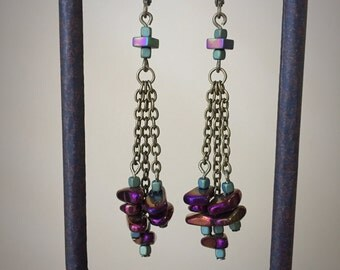 Funky iridescent purple pebble earrings