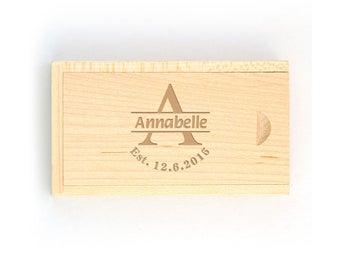 Engraved Usb Flash Drive Box,Monogram Usb Box,Personalized Wooden Usb Box,Monogram Gift,Wedding 8GB Usb Memory Gift Box