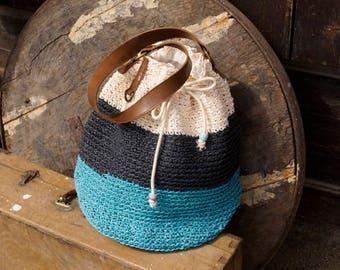 Bucket summer bag - handcrafted from raffia yarn