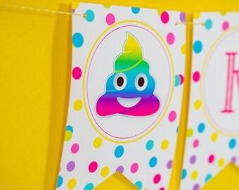 Emoji Party Pooper Party Birthday Banner - Instant Download Rainbow Poop Emoji Printable Banner by Printable Studio