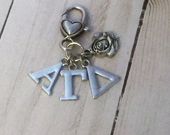 Alpha Gamma Delta Sorority Rose Keychain