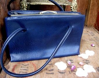 Navy Bag, Vintage Bag, Navy Purse, Blue Bag, Over Arm Bag, 1960s Bag, 1960s Handbag, 1960s Purse, Kelly Bag, 1960s Fashion, Mad Men