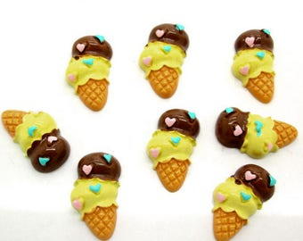"5 pcs Yellow and ""chocolate"" Ice Cream Flatback Resins"