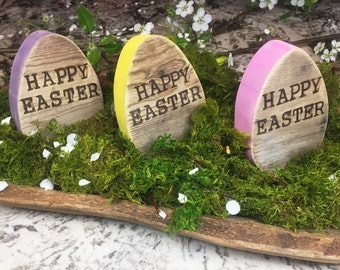 Wooden Easter Egg - Rustic Easter Decor - Personalized Easter Baket Gift - Spring Decor Wood Easter Egg - Happy Easter Egg - Reclaimed Wood