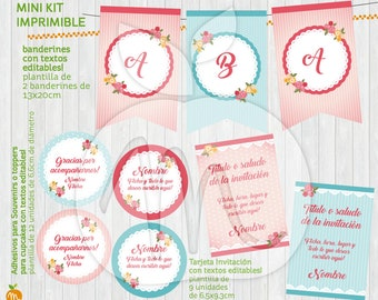 Shabby Chic Printable Kit with Editable Texts! INSTANT DOWNLOAD!!
