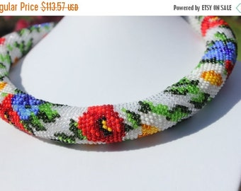 VALENTINE SALE 25% Flower Necklace, Bead Crochet Necklace, Trending Necklace, Beaded Necklace, Poppy Necklace, Made with love,
