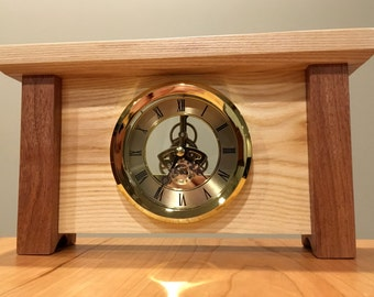 Skeleton Mantle Clock made with Ash and Mahogany