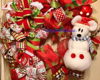Christmas Mickey Mouse Snowman Wreath, Disneys Mickey Mouse Deco Mesh Wreath, Christmas Winter Whimsical Wreath, Mickey Holiday Disney Decor