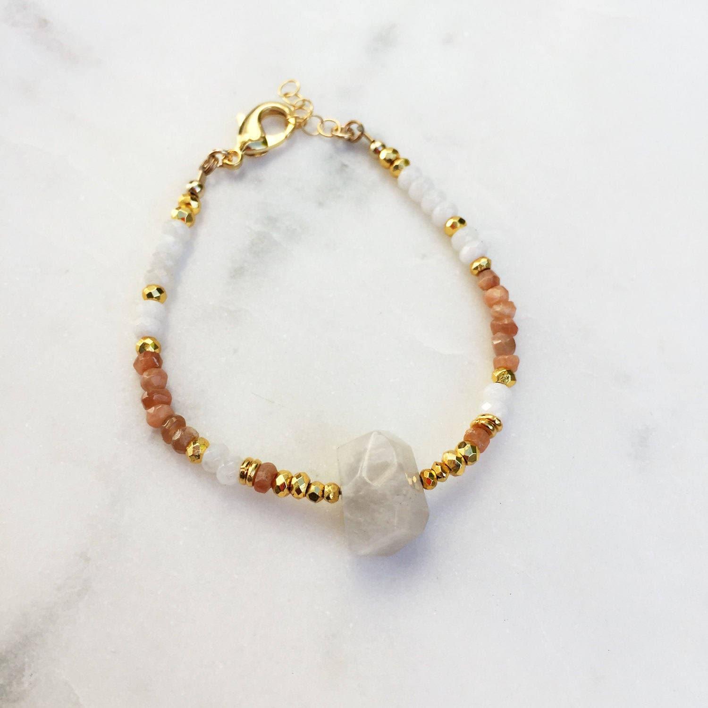 Summer Moonstone Bracelet | Raw Gemstones | Beaded Bracelet |
