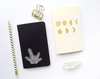 Witchy Jotter Notebook Pack / Moon Phase Pocket Journal / Crystal Notebook / Plain or Graph Paper