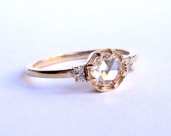 Rose Cut Diamond Octagon Ring, Engagement Ring, Wedding Band, 14K Yellow Gold