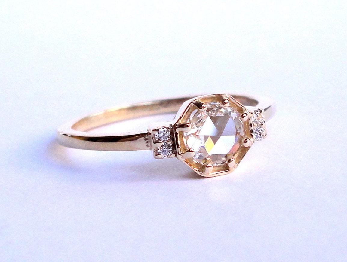 Rose Cut Diamond Octagon Ring Engagement Ring Wedding Band