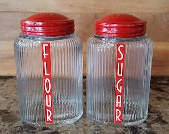 Vintage Owens Illinois Glass Ovoid Pantry Aid Clear/Red Lids  - Flour, Sugar, Range Shaker Set - Set of 2