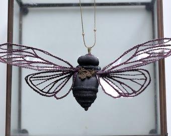 dark purple cicada pendant,fiberart, soft sculpture,