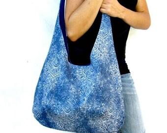 Hobo Bag Purse, Blue Medallion Fabric Tote Bag, Over The Shoulder Slouch Bag, Boho Bag.