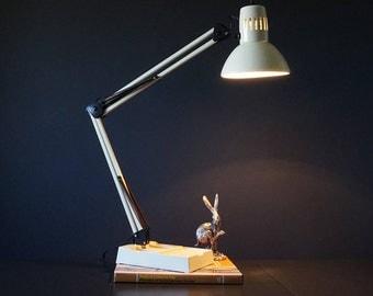 Vintage Cream Desk Lamp // Architects Lamp //Vintage lamp // Cream Desk light // 1960s // Vintage Lighting //Mid Century // Retro Lighting.