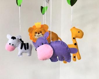 Nursery Mobile Boy - Baby mobile animals -Nursery mobile animals - Crib mobile animals - Baby shower gift -Nursery mobile for girls - safari