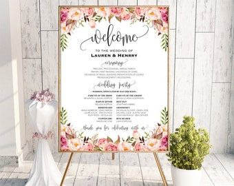 Printable Wedding Program Board Sign Template, Editable Pink Floral Program Poster, DIY Welcome Sign, 3 Sizes Instant Download PDF #102