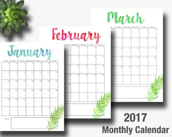 """2017 Calendar Printable, Editable, Monthly Pages, Letter Size 8.5"""" x 11"""" Instant Download"""