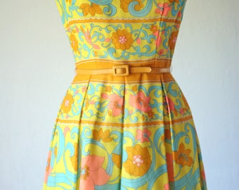 1960s Yellow Floral Print Fit Flare Dress Vintage Stacy Ames 60s Womens 10 Full Pleated Skirt Medium Large Dress / Mid Century Mad Men