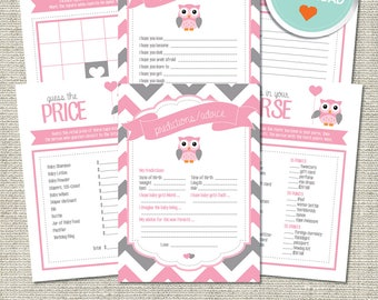 Owl Baby Shower Games, Owl Games, Pink, Gray, Chevron (Matches Chalkboard, Branch)   Instant Download