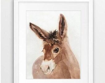 Donkey Watercolor Art,  Nursery Art Decor, Donkey Painting, Donkey Print, Gift for Horse Lover, Gift for Her, Room Art, Nursery Art Decor,