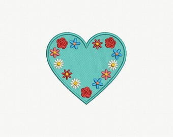 Heart Applique Machine Embroidery Design - 1 Size
