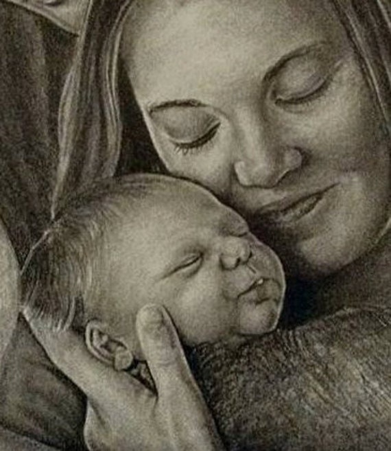 Custom pencil portrait drawing from your photo. 25% Sale! Your memories come to life again in Nica's exquisitely detailed portraits.