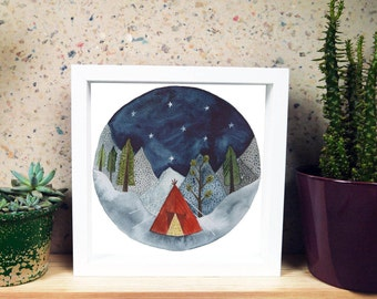 Adventure Camping Tent Print with Mountains and Stars!