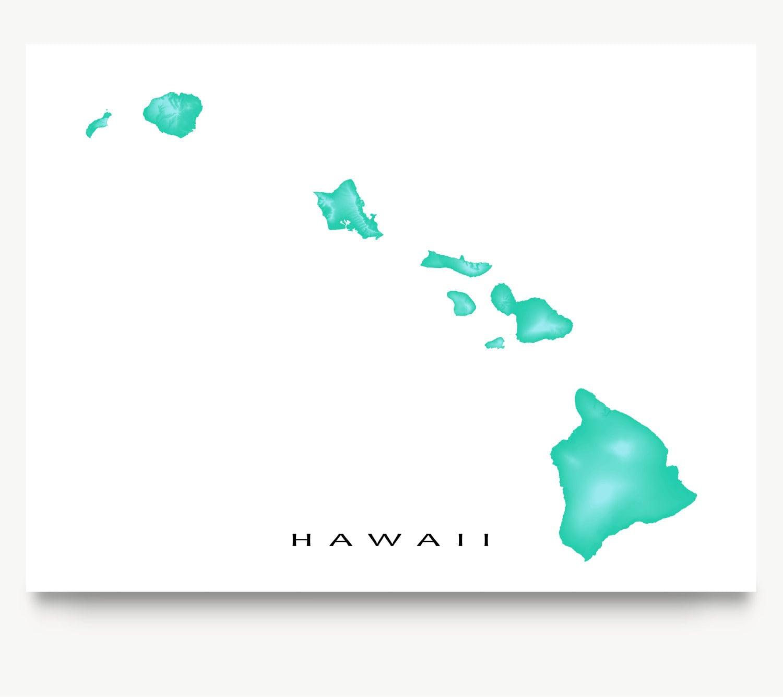 Hawaii Map Print Hawaii Art Hawaiian Islands Home Decor