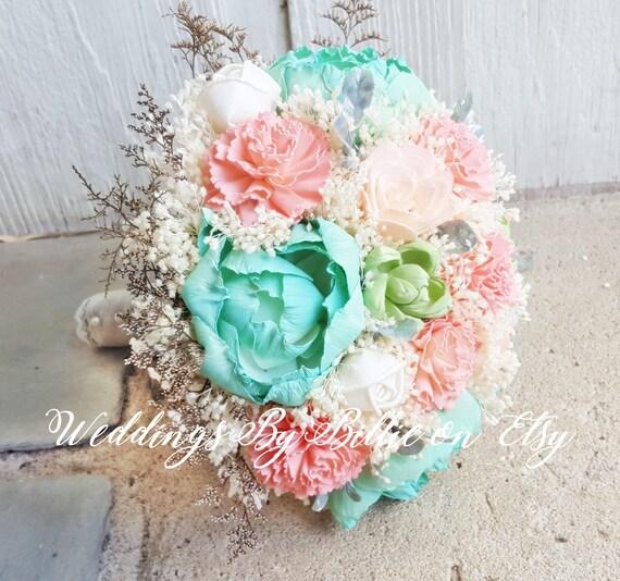 f199b5e97ce94 Weddings Peridot Mint Peach Bouquet Burlap Lace Sola Bouquet ...
