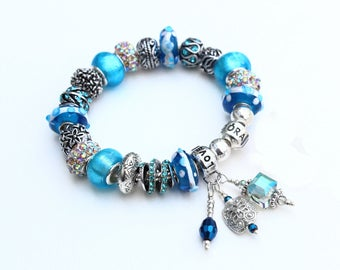 CRYSTAL BLUE PERSUASION~with Genuine Pandora Bracelet Option and European Style Beads/Charms