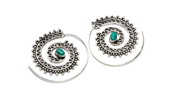 White Brass Tribal Design Spiral Earrings With Turquoise Gemstone Tribal Earrings Mandala Jewellery Free UK Delivery WB62