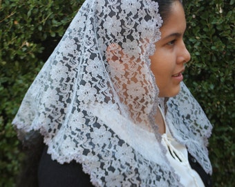 Grey Mantilla - Grey Veil--Grey Mantilla Chapel Veil Headcovering -- Church Veil