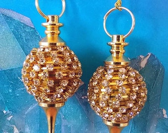 2 Unusual GOLD Ball Dowsing PENDULUM Set with 110+ Crystals. Includes 2 Pouches, Divination