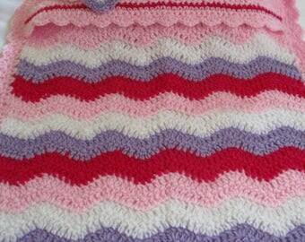Hand crochet ripple effect pink doll's blanket and pillow set
