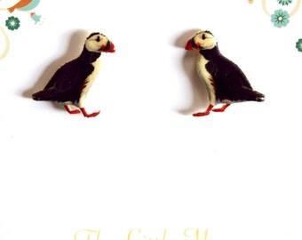 Puffin Bird Fine Detail Stud Earrings