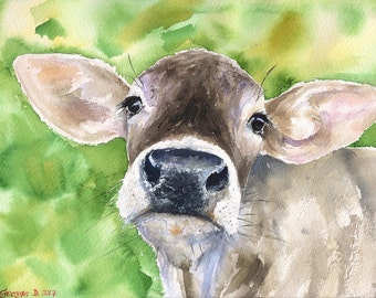 Cow brown portrait Print of the Original Watercolor Love Painting art cute Sweet  painting Decor sweet swiss farm animal