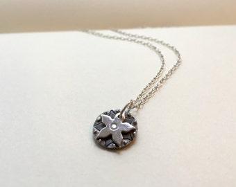 Silver flower jewellery - aztec flower sun - Flower necklace