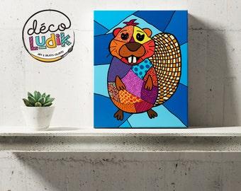 Beaver canvas, print art, wall art, beaver art print, home decor, beaver canvas print, nursery decor, kids room