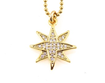 Starburst Necklace, Gold Star Necklace, Gold Starburst Necklace, Sparkly Star Necklace, Sparkly Gold Necklace, Gold Star Necklace, Sparkle