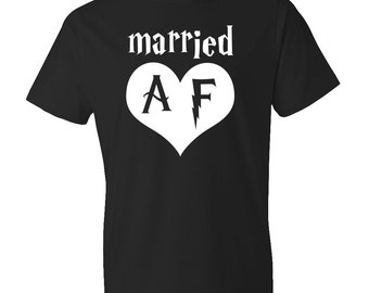 Married AF Shirt, Husband Shirt, Married Shirt, Wedding Anniversary Shirt, Husband Gift, Wife Shirt Wife Gift Groom Gift Newly Weds #OS60