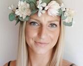 Ebony Flower Crown- Eucalyptus Floral Headpiece