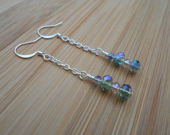 Sterling silver plated green and champagne crystal earrings