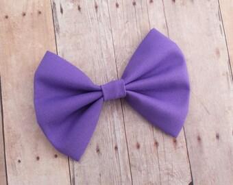 Dark Pastel Purple Fabric Hair Bow Clip or Headband / Purple Hair Bow / Pastel Purple Bow Clip / Purple Fabric Bow / Lilac Hair Bow Headband