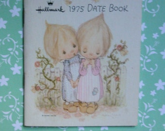 Vintage date book.Hallmark.1975.1976.BetseyClark.For her.Planner.Pastel colors.Feminine.Retro.Garden.Floral.Nostalgic.Pink.Soft blue.White.