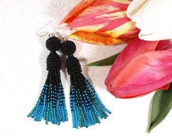 Black fringe earring Emerald blue earring Bead tassel earring Extra long earring Oscar de la renta earring Seed bead earring jewelry