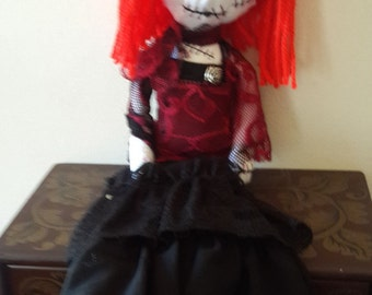 Scarlotta, handmade gothic rag doll, collectors doll, horror dollm, OOAK doll, victorian